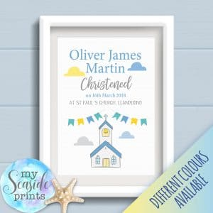 Boys Christening Print with church