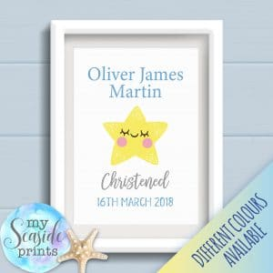 Personalised Baby Boys Christening Print with Cute Star