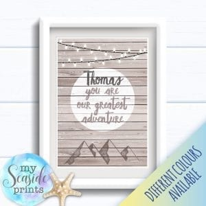 Personalised Boy's Nursery or New Baby Print - You are our greatest adventure
