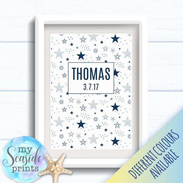 Personalised Boy's Nursery or New Baby Print - Name and stars