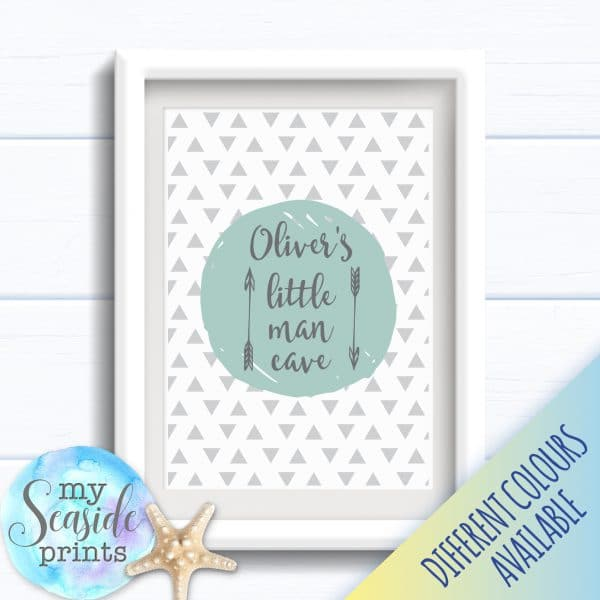 Personalised Boy's Nursery or New Baby Print - Little man cave