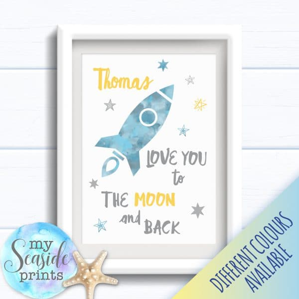 Personalised Boy's Nursery or New Baby Print - love you to the Moon and back