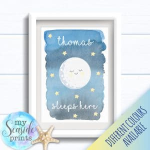 Personalised Boy's Nursery or New Baby Print - Sleeps here moon art print