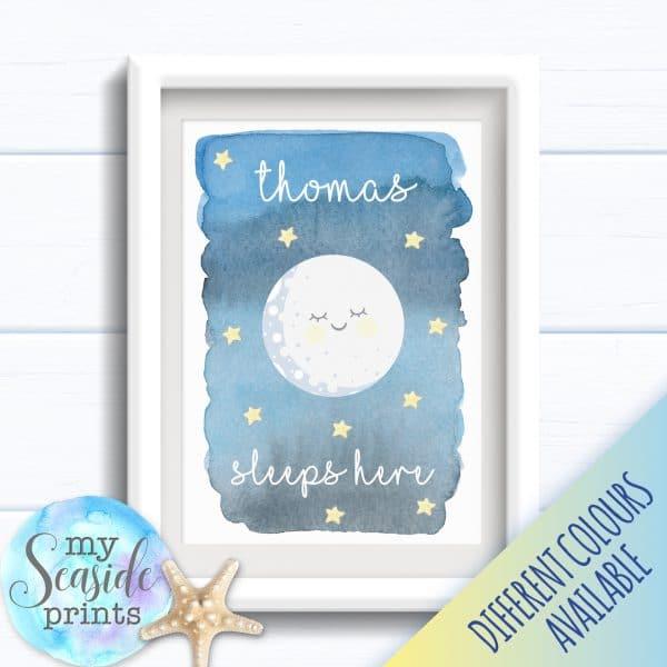 Personalised Boy's Nursery or New Baby Print - Sleeps here moon art print