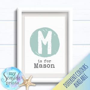 Personalised Boy's Nursery or New Baby Print - Initial spot