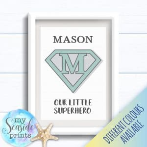 Personalised Boy's Nursery or New Baby Print - Our little Superhero art print