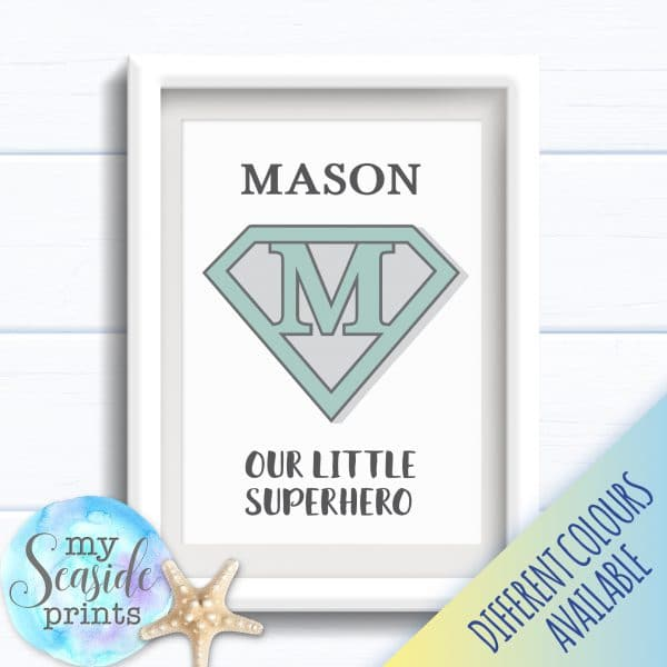 Personalised Boy's Nursery or New Baby Print - Our little Superhero art print