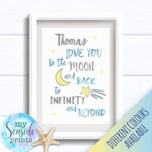 Personalised Boy's Nursery or New Baby Print - Moon and infinity