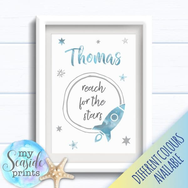 Personalised Boy's Nursery or New Baby Print - Reach for the stars