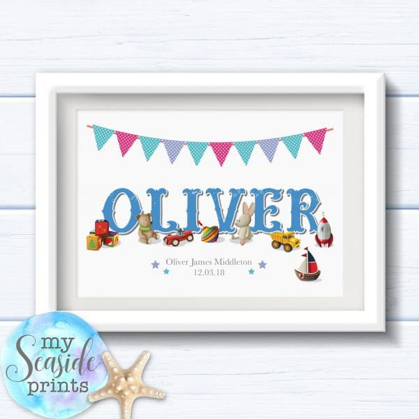 Personalised Boy's Nursery or New Baby Print - Name with vintage style toys