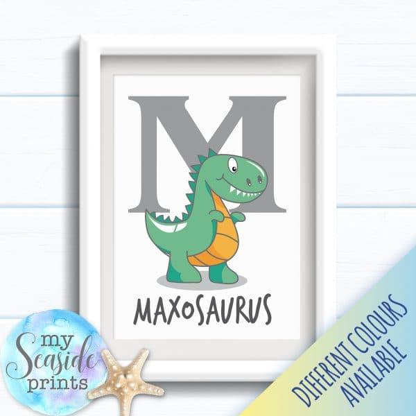 Personalised Boys Name Room Print - Dinosaur Bedroom Print