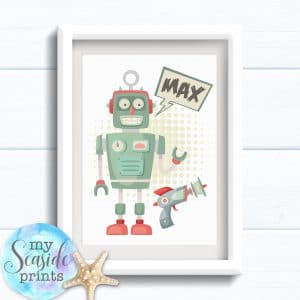 Personalised Boys Robot Room Print - Retro robot