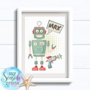 Personalised Boys Robot Room Print - Retro robot