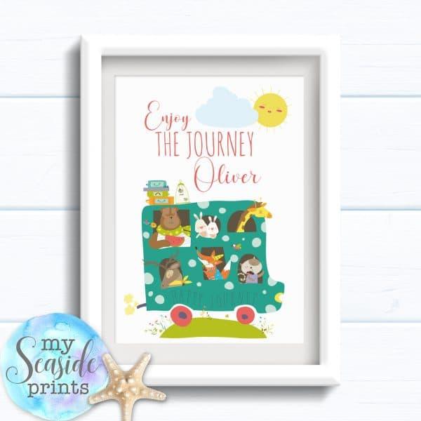 Personalised Boys Name Room Print - Enjoy the journey