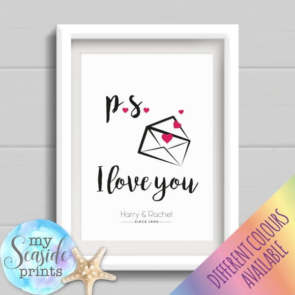 Personalised Couples Print - p.s. I love you personalised gift for valentines day