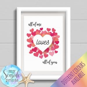 Personalised Couples Print - All of me loves all of you