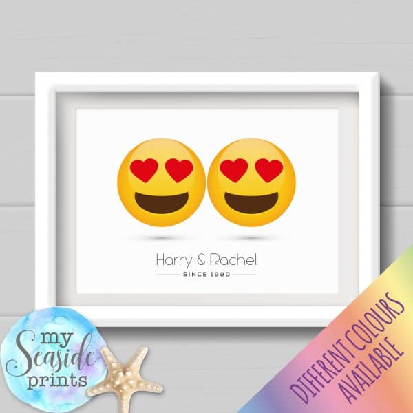 Personalised Couples Print - Heart eyes emojis