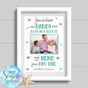 Hero from day one personalised print for dad