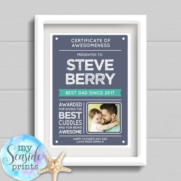 Personalised Father's Day Print - Certificate. Gift for dad