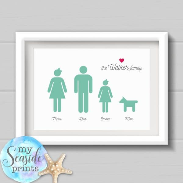 Personalised Fathers Day Print - Family symbols