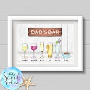 Personalised Father's Day Family Drinks Print - Dad's Bar