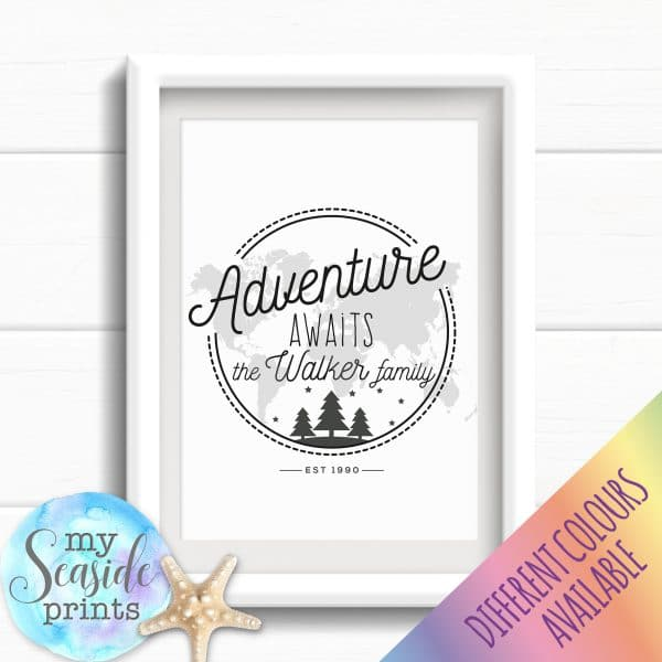 Personalised Family Name Print - Adventure awaits
