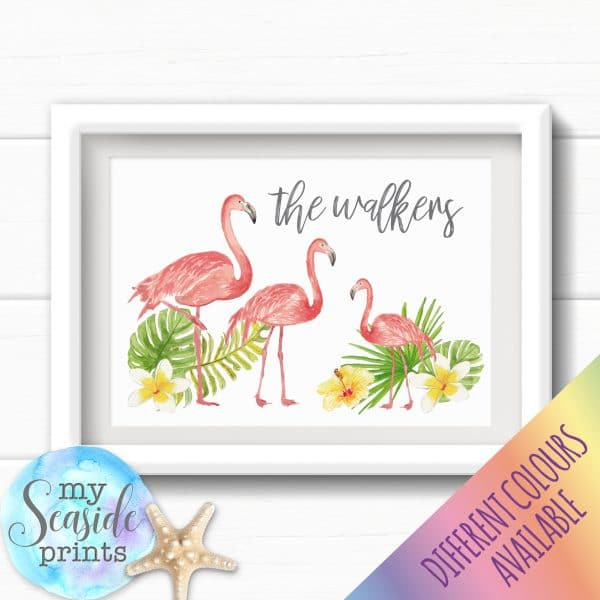 Personalised Family Print - Flamingo family