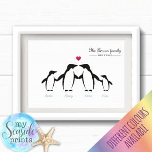 Personalised Family Print - Penguin family for gift or present