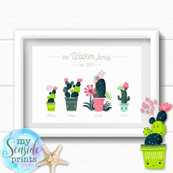 Personalised Family Print - Cactus family