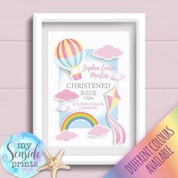 Personalised Baby Girls Christening Print