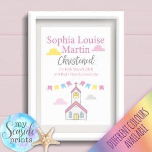 Christening Print for Girls christening gift or present