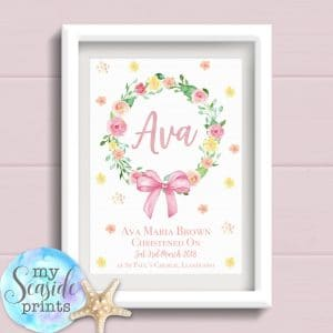 Personalised Girls Christening Print with flowers and bow