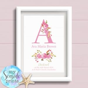 Personalised Girls Christening Print with flower initial