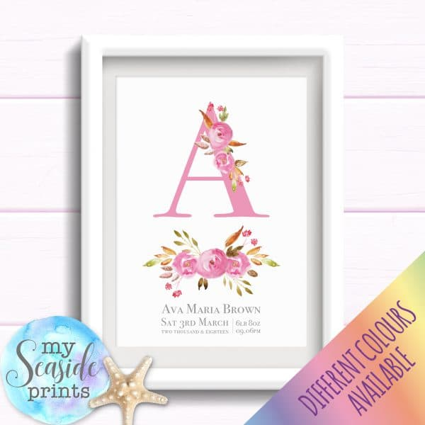 Personalised Girls Nursery Art or New Baby Print - Initial with flowers