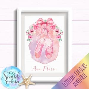 Personalised Girls Nursery or New Baby Print - Ballet shoes with flowers