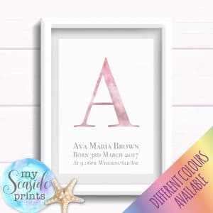 Personalised Girls Nursery or New Baby Typographic Print - Watercolour initial