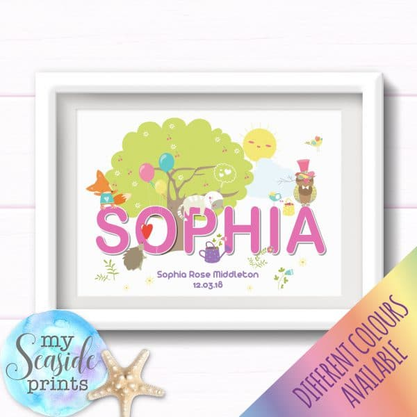 Personalised Girls Nursery or New Baby Print - Name with woodland creatures