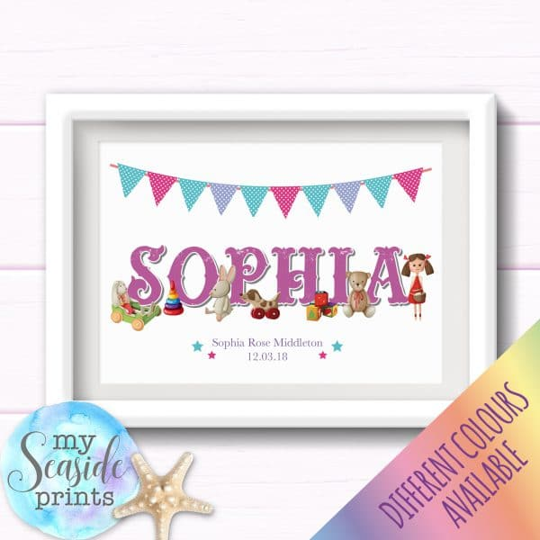 Personalised Girls Nursery or New Baby Name Print with vintage style toys