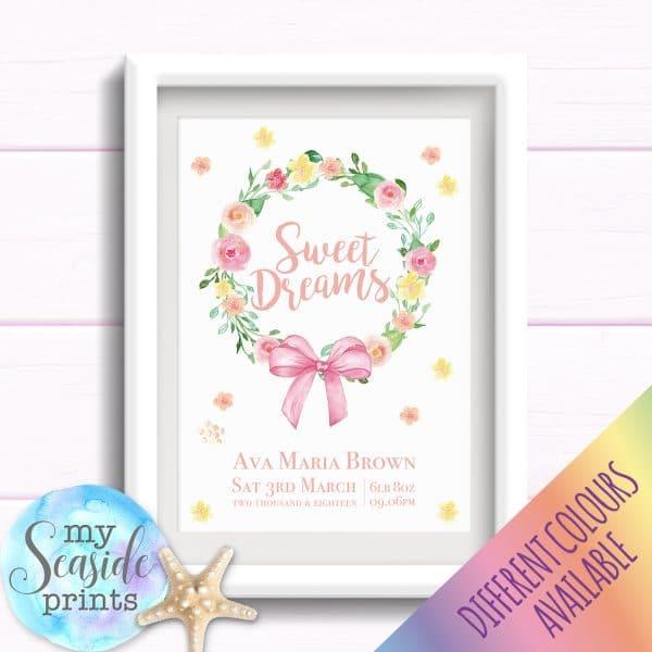 Personalised Girls Nursery or New Baby Print - Flower wreath, sweet dreams