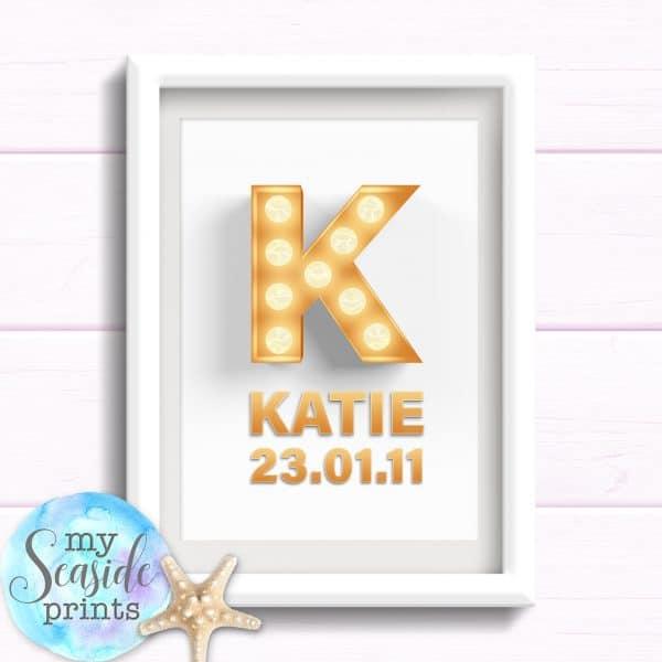 Personalised Girls Name Room Print - Hollywood Initial