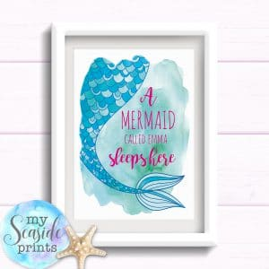 A mermaid sleeps here personalised girls bedroom wall art