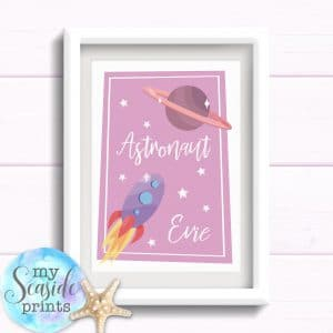 Personalised Astronaut Girls Room Print