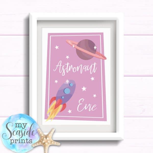 Personalised Astronaut Girls Room Print