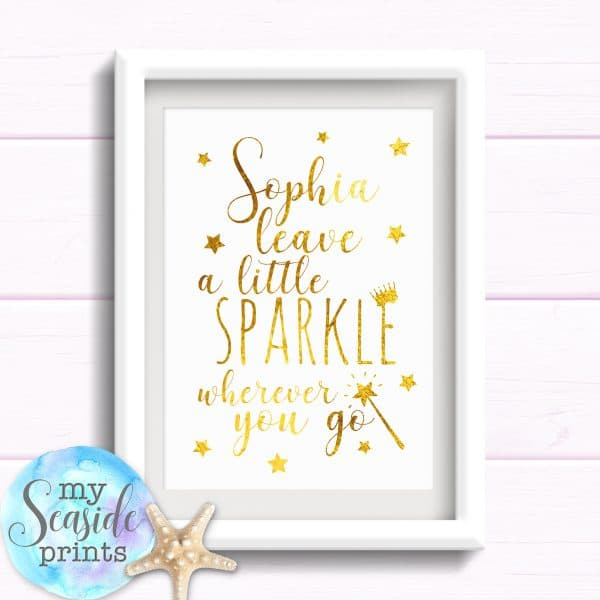 Leave a little sparkle wherever you go Personalised Girls Room Print