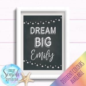 Personalised Girls Name Room Print - Dream big chalkboard