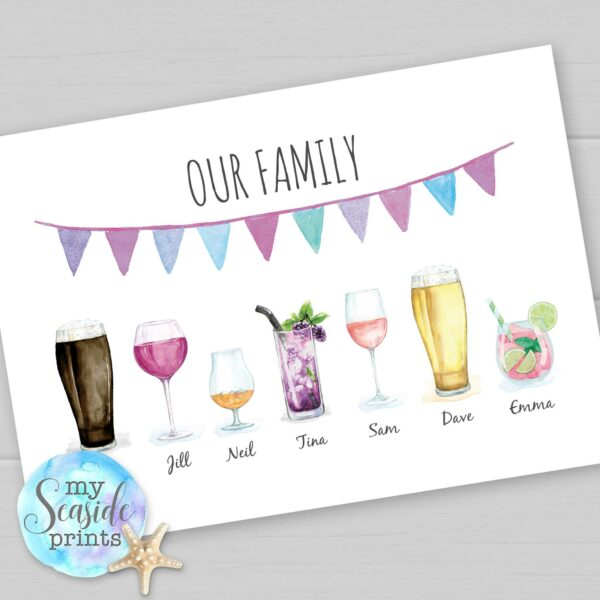 Drinks family personalised print