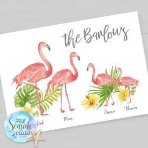 Flamingo Family Personalised Print