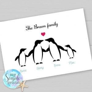 Penguin family personalised print
