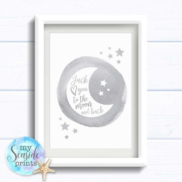 Personalised boys Nursery or New Baby Print - Moon and back in grey