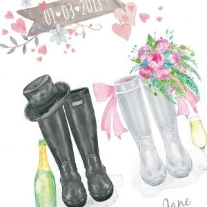 welly boot print for wedding gift